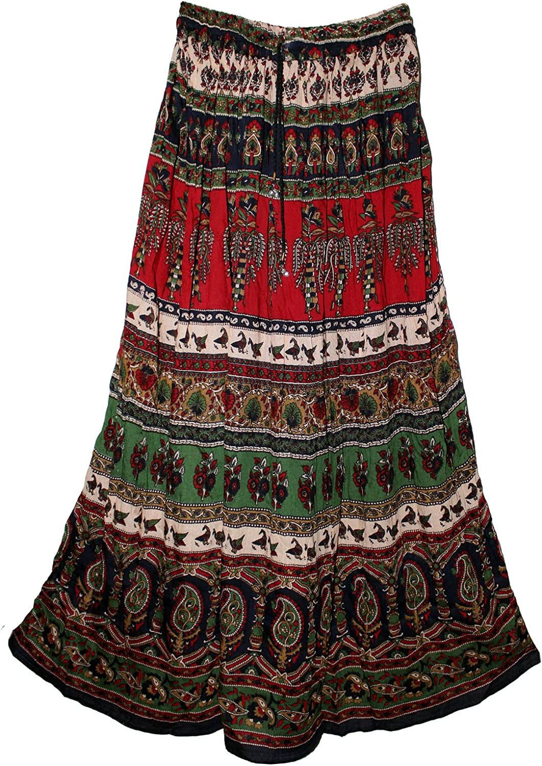 Fashion of India Womens Indian Crinkle Broomstick Gypsy Long Skirt