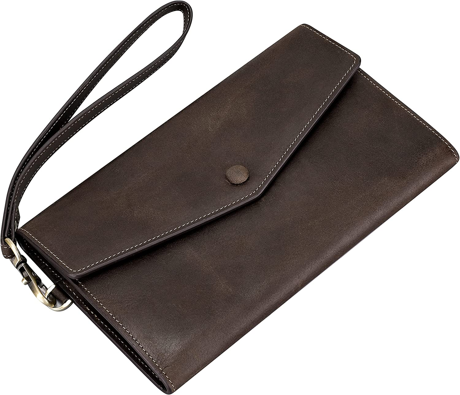 Itslife Wristlet Wallets for Women Leather, RFID Blocking Womens Wallet Large Capacity Phone Purse Gift Wallets (dark brown)