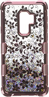 MyBat Cell Phone Case for Samsung Galaxy S9 Plus - Rose Gold Hibiscus Flower/Silver Sparkles