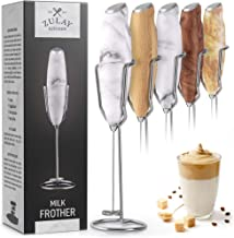 Zulay Milk Frother Handheld Foam Maker With Upgraded Holster Stand - Powerful Coffee Frother Electric Handheld Mixer - Battery Operated Frother For Coffee with Stainless Steel Electric Whisk (Marble)