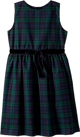 Sleeveless Tie Front Plaid Dress (Little Kids/Big Kids)