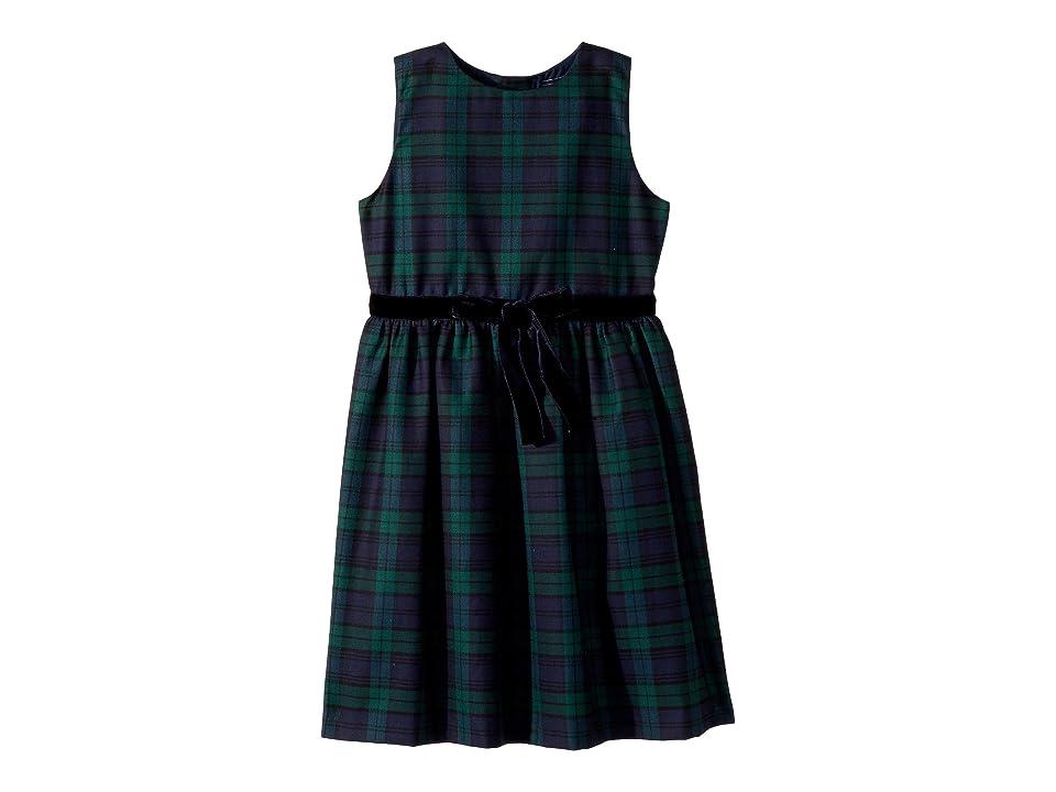 Oscar de la Renta Childrenswear Sleeveless Tie Front Plaid Dress (Little Kids/Big Kids) (Navy Multi) Girl