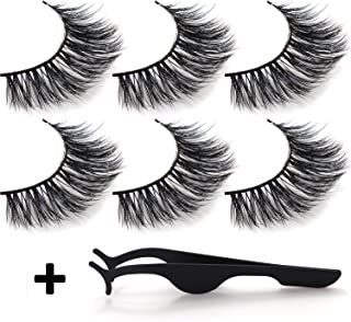 False Eyelashes 3D Attractive Handmade Reusable Long Cross Fiber Natural Black Thick Hair, Attractive Wispy Fake Eye Lashes Style Extension for Women's Makeup With Strip And Tweezer (3 Pa
