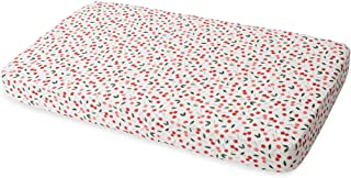 """Red Rover Kids All-Cotton Muslin Fitted Crib Sheet- 52""""x 28""""x 9""""- 100% Cotton – Machine Washable – Lightweight & Breathable – Playful Designs – Nursery, Crib, Bed – Unisex (Cherries)"""