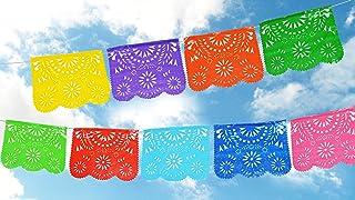 Plastic Mexican Papel Picado Banner.Colores de Primavera.Vibrant Colors. Full Size Panels