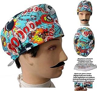 Cappelli per chirurgia BOOM perCapelli Corti UOMO ospedale, dentista, veterinario, cuoco assorbente frontale e tenditore c...