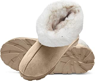 Tipped Faux Fur Microsuede Super Soft Bootie Slippers with Indoor Outdoor Sole
