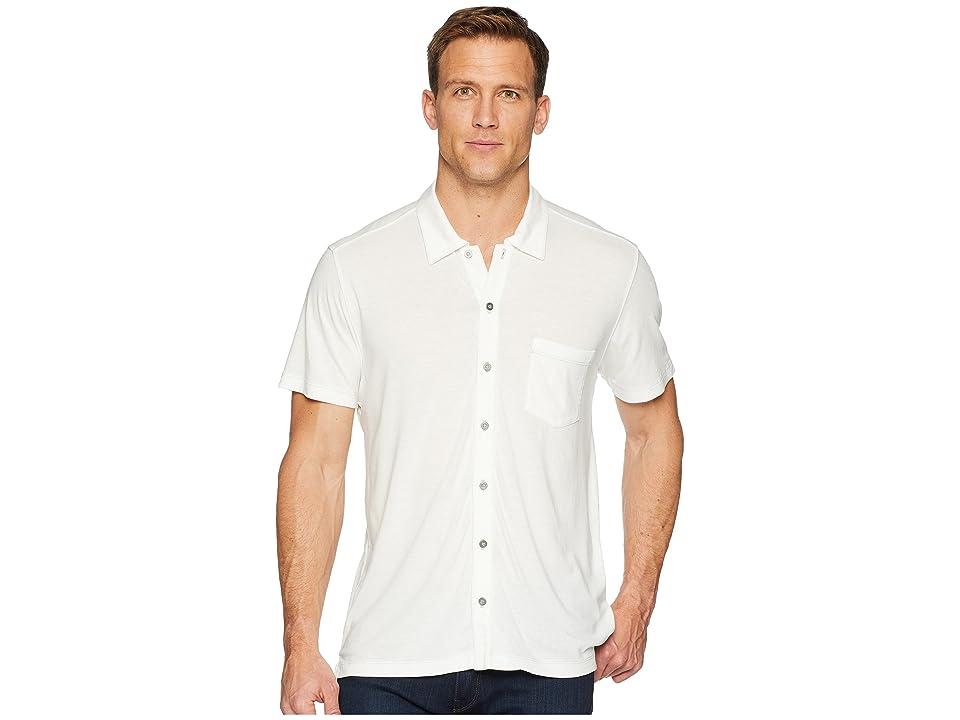 Agave Denim Fort Point Short Sleeve Full Button Polo (Bright White) Men