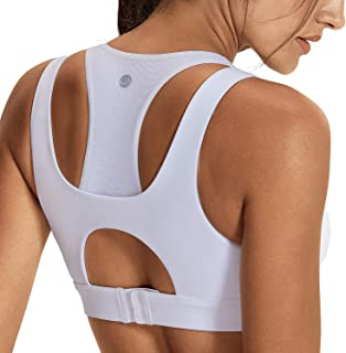 CRZ YOGA Supportive Sports Bras for Women Running Padded Compression Sports Bra Racerback Workout Tops