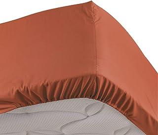 douceur d'intérieur Drap Housse 2 Personnes 140 x 190 cm Percaline Terracotta