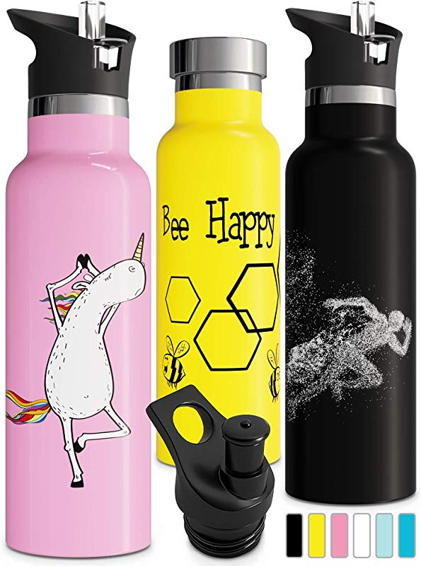 Double Walled Insulated Water Bottle With Straw Lid Sports Cap Kids Stainless Steel Thermos Metal BPA Free Eco Friendly Non Sweat Durable Finish 12oz 17oz 20oz 25oz
