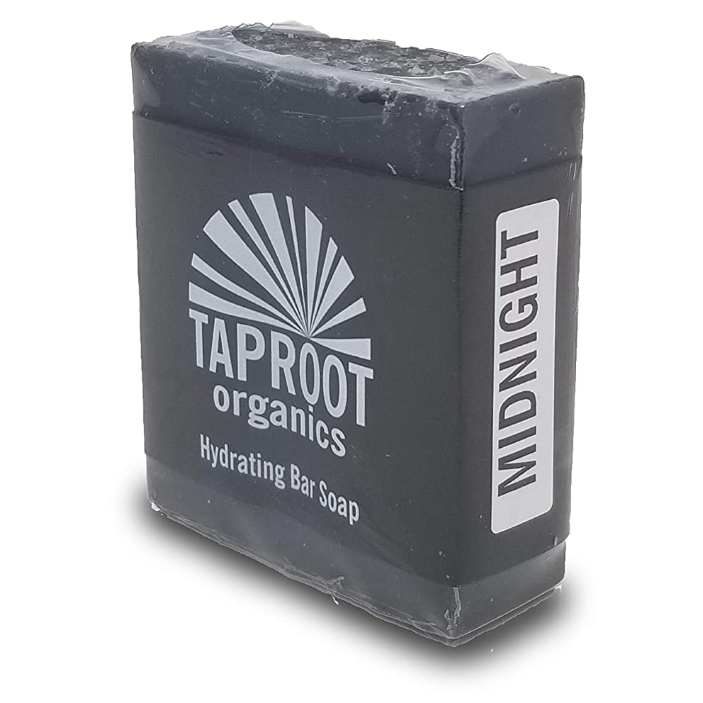 TAPROOT ORGANICS MIDNIGHT BAR SOAP - Deep Cleansing, Food -Grade Activated Charcoal & Bentonite Clay, Body and Face bar Soap for ENTIRE FAMILY - Antifungal, Antibacterial, Cold Process (vegan)