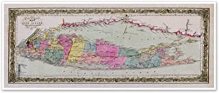 Travelers MAP of LONG ISLAND, NEW YORK by J.H. Colton & Co circa 1857 - measures 12