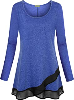 a93811e88f1 Miusey Womens Long Sleeve Casual A line Chiffon Stitching Layer Tunic Tee  Shirt