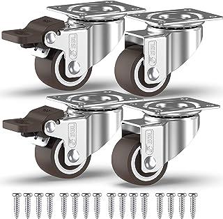 GBL® 4 Kleine Zwenkwielen 25mm + Schroeven TPR Rubber | Zwaarlastwielen 40KG - Zwenkwielen Voor Meubels | Zwenkwieltjes vo...