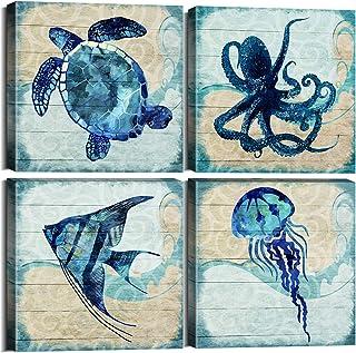 Ocean Home Decor Beach Marine Theme Bathroom Wall Art Navy Blue Mediterranean Style..