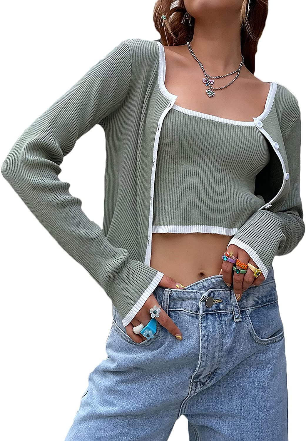 SheIn Women's Long Sleeve Button Rib Knit Cardigan 2 Pieces Pullover Crop Top Sweater Set