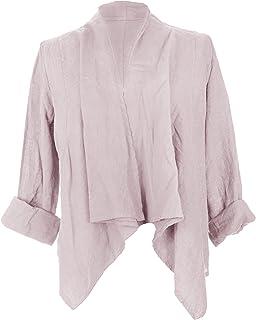 TEXTURE Ladies Womens Italian Lagenlook Long Sleeves Linen Waterfall Crop Buckle Jacket Shrug Cardigan