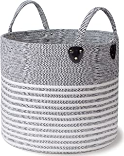 Striped Cotton Rope Basket - Large Size, 16 x 16 x 14 Inch - Decorative Woven Storage Basket for Laundry Clothes, Toys, Blankets, Pillows, Towels