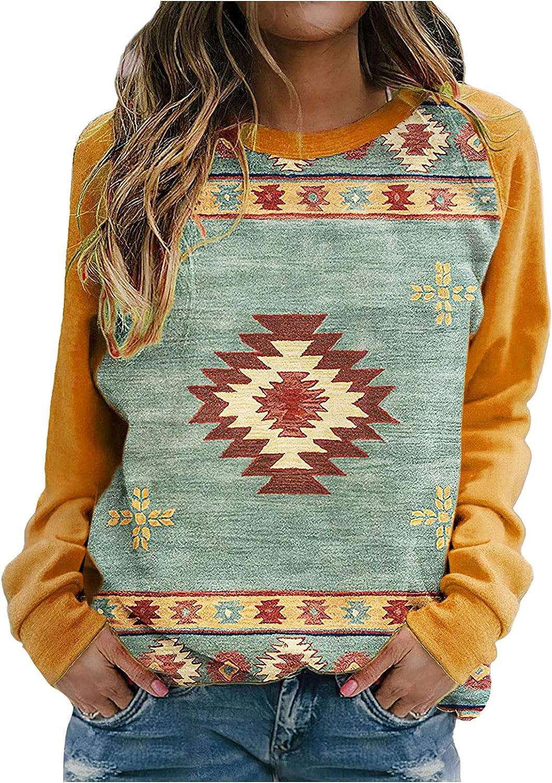 Hotkey Sweatshirts for Women Crewneck Long Sleeve Tops Vintage Floral Print Pullover Sweatshirt Teens Casual Loose Top Blouse