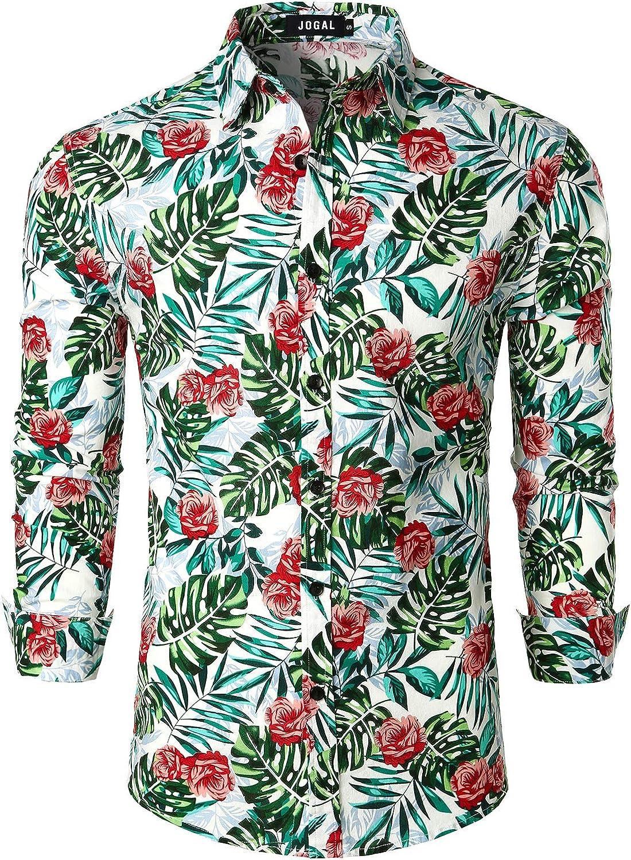 JOGAL Men's Floral Linen Dress Shirt Long Sleeve Casual Button Down Shirts