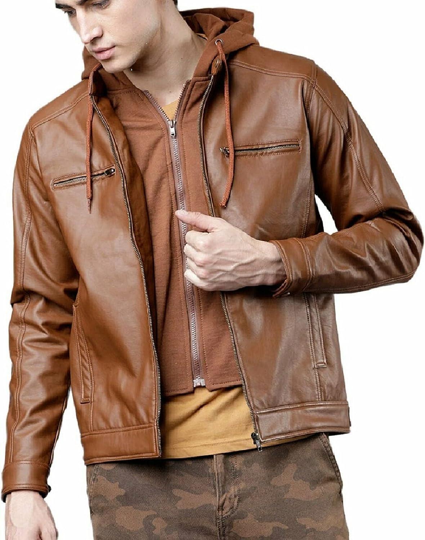 Men's Brown Removal Fur Hooded Straight Racer2 Original Sheep Skin Leather Jacket