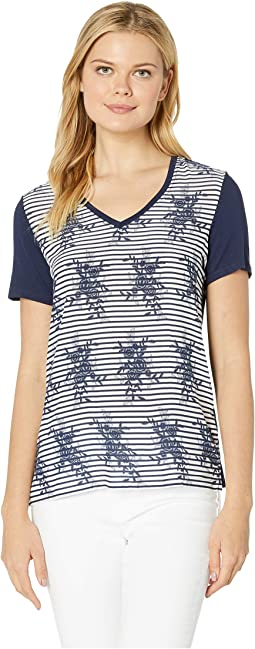 Printed Challis Short Sleeve Top with Woven Front
