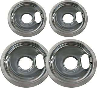 KHY (4) Chrome Drip Pan Set W10278125 Replacement for Amana Crosley Frigidaire Maytag Whirlpool Two 6-Inch and Two 8-Inch