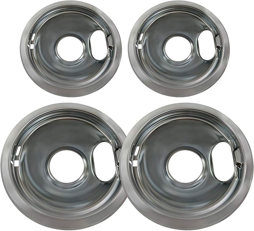 Chrome Drip Pan Set Replacement For Whirlpool W10278125 Two 6 Inch Two 8 Inch Gxfc
