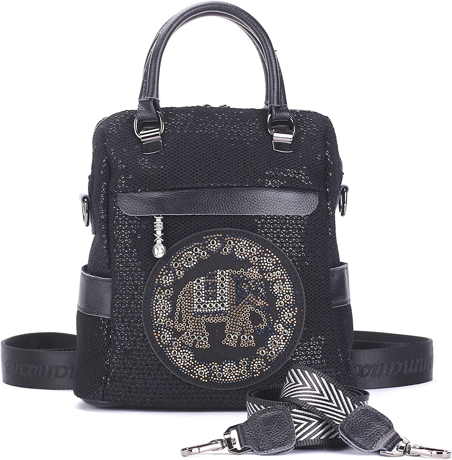 Leather Black Backpack Purse for Women Convertible Sequins Shoulder Bag Fashion Crossbody Bags Daypacks