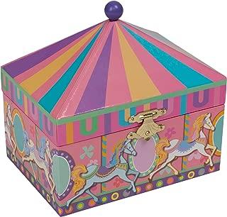 Splendid Music Box Co. Multicolored Wide Stripe Circus Theme Papier Musical Jewelry Box Plays Swan Lake
