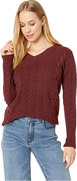Long Sleeve V-Neck Pullover Cable Sweater w/ Lace-Up Side