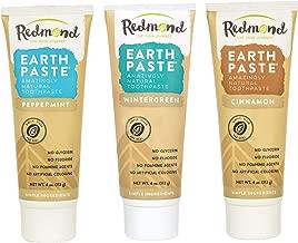 Redmond Redmond earthpaste - natural non-fluoride toothpaste, 4 ounce tube (3 pack, peppermint, wintergreen, cinnamon)