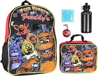 Five Nights At Freddy's 16 Backpack Lunch Box Water Bottle Lunch Kit -5 Piece Set