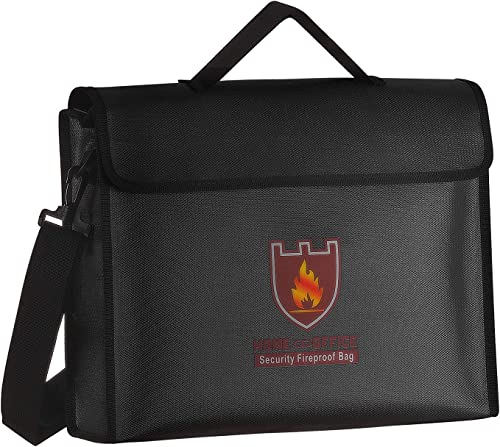 Fireproof Document Bag, Fire & Water Resistant Document Pouch A4 Document Safe Bag Security Fire Bag for Money, Photo...