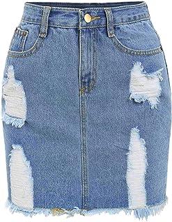 Verdusa Women's Casual Distressed Frayed Pencil Short Denim Skirt Blue L