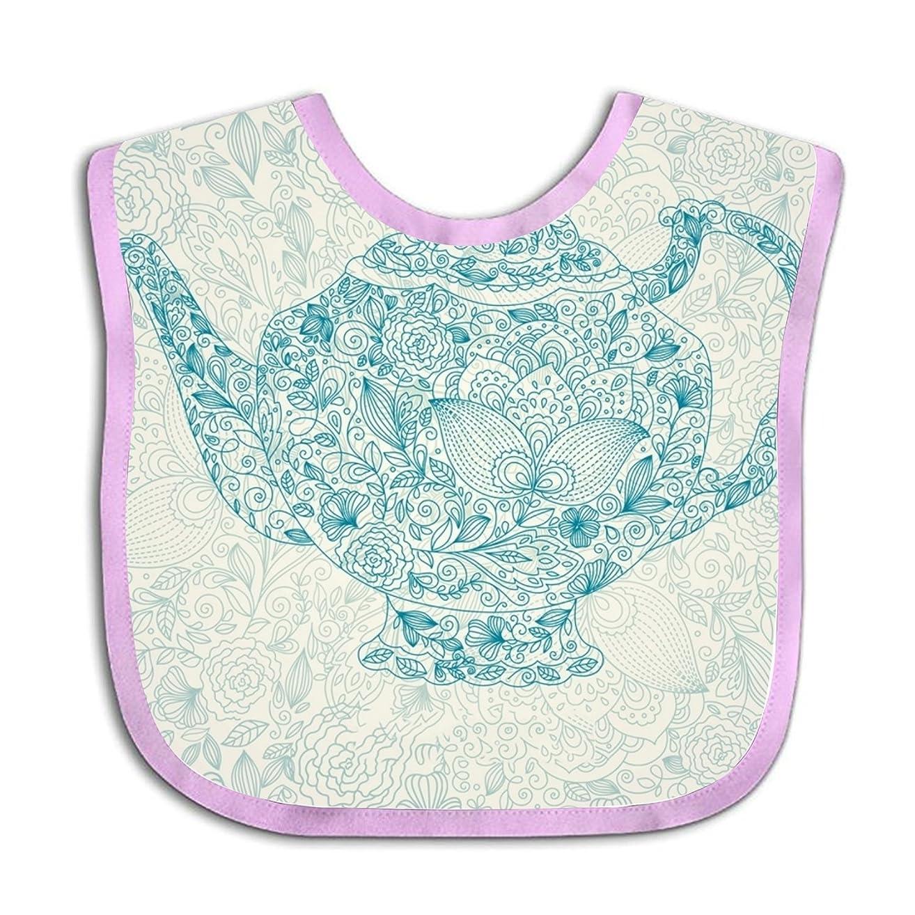 Floral Teapot Teething Bib Adjustable Feeding Bibs Soft Gift For Toddlers Waterproof