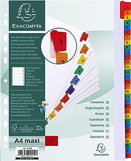 Exacompta - Réf. 4131E - Intercalaires en carte blanche 160g/m2 avec 31 onglets imprimés numériques de 1 à 31 en couleur -...