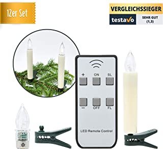 German 12pcs Battery Operated Taper LED Candle Lights Christmas Hanukkah Holiday Candles Set | Wireless with Remote Candles | Christmas, Party, Wedding, Birthday, Hanukkah | No/Slow/Fast Flickering