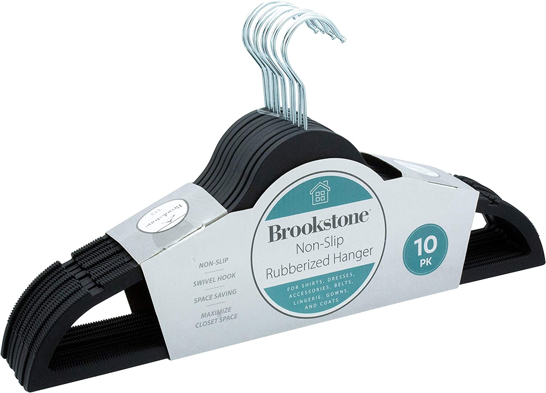 Brookstone BKH1301, 10 Pack Non-Slip Rubberized Hangers, Ultra Slim Lightweight Design, Heavy-Duty, Won't Stain Fabric, Swivel 360° Hook, 10 Count