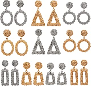 10 Pairs Mixed Wholesale Gold/Silver Raised Design Statement Earrings Punk Style Drop Earrings for Women Geometric-Shaped Chunky Metal Fashing Eardrops Lightweight Big Dangle Earrings Set