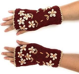 Hand Knit Fingerless Embroidered Flower Winter Wool Texting Gloves Mittens Warm Fleece Lined
