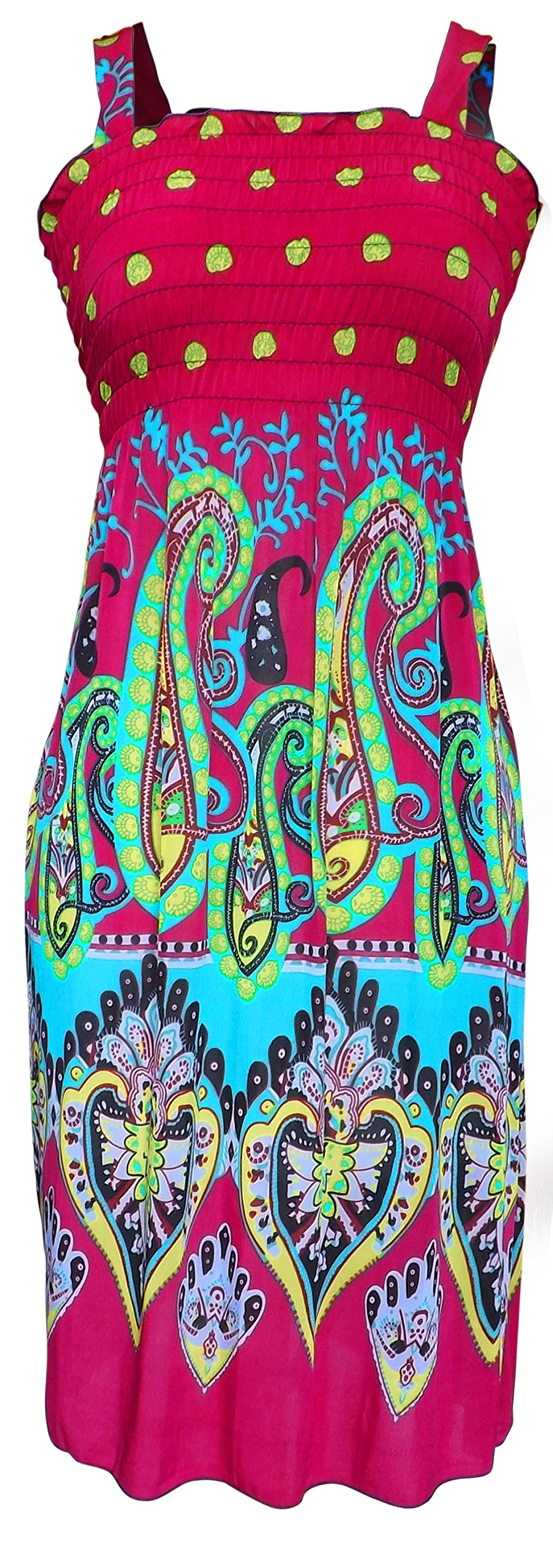 Available at Amazon: Peach Couture Women's Midi Multicolor Exotic Smocked Spring Summer Dress