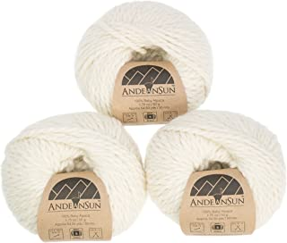 100% Baby Alpaca Yarn (Weight #5) Bulky, Chunky, Craft - Set of 3 Skeins 150 Grams Total- Luxurious and Caring Soft for Knitting and Crocheting - Ivory #5 Bulky