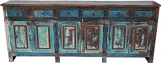 Guru-Shop XXL Cómoda Vintage de 6 Puertas y 6 Cajones Teca 915x2285x40 cm Cómodas Aparadores