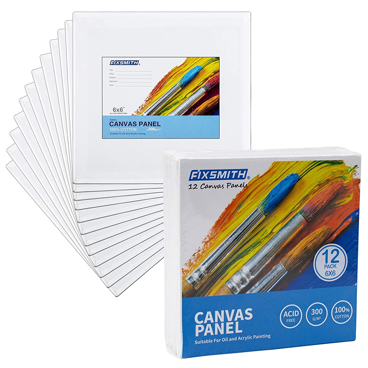 FIXSMITH Painting Canvas Panels - 6 x6 Inch Canvas Panel Super Value 12 Pack Canvases,100% Cotton,Square Canvas Board,Mini Canvas,Artist Canvas Boards for Professionals,Hobby Painters,Students & Kids.