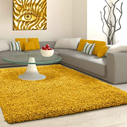 Shaggy Rug Rugs Living Room Large Soft Touch 5cm Thick Pile Modern Bedroom Living Room Area Rugs Non Shed Ochre Mustard Yellow 120cm X 170cm 4ft X 6ft Amazon Co Uk Home