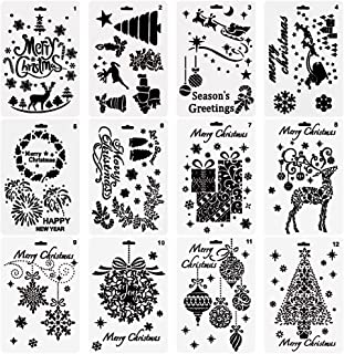 URlighting Christmas Template Stencils(12 Pcs), DIY Drawing Bullet Journal Stencil Template Set - Merry Christmas, Santa C...