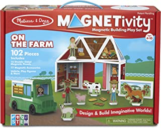 Melissa & Doug Magnetivity Magnetic Tiles Building Play Set – On The Farm with Tractor Vehicle (102 Pieces, STEM Toy, Great Gift for Girls and Boys - Best for 4, 5, 6, 7, 8 Year Olds and Up)