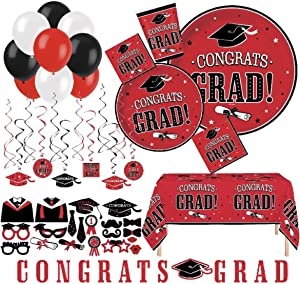 Serves 30   Complete Party Pack   Congrats Grad Red Party Supplies   9